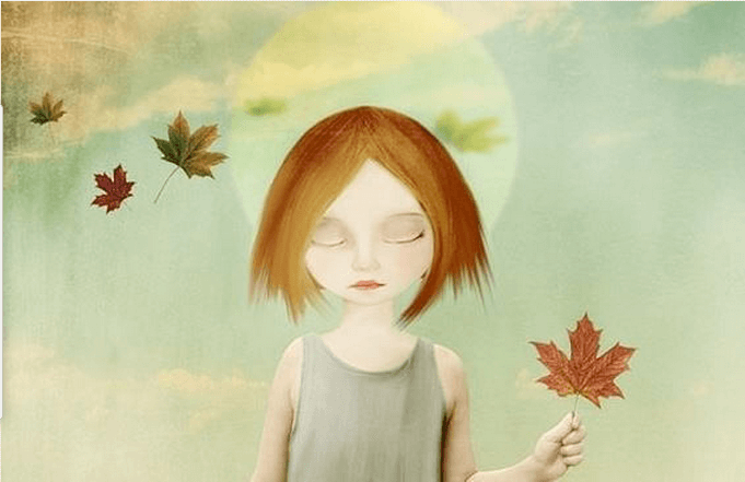 girl and leaf