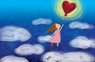 girl with heart balloon