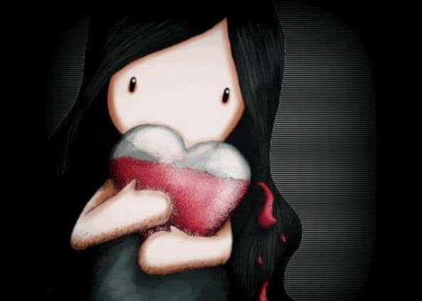 Ujo tyttö halaa sydäntä