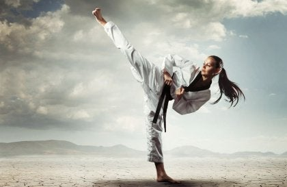 karate kick girl