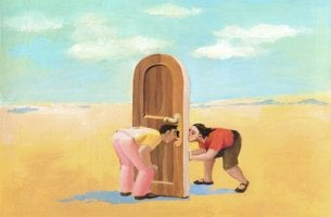 two people peering through key hole fall in love