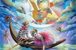 Couple in Gondola, Faces in Sky