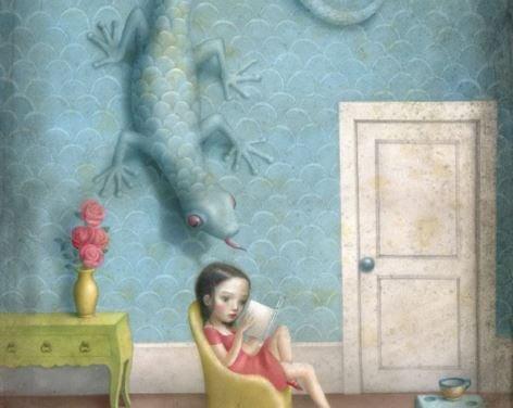 Lizard Creeping on Girl