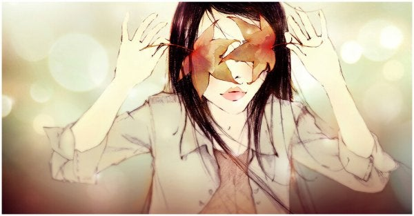 girl with leaves covering eyes actions not words