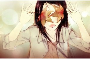 girl with leaves covering eyes intuition