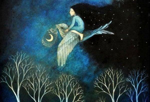 Tyttö lentää linnulla keskellä yötä