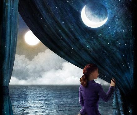 woman pulling back night sky curtain letting go