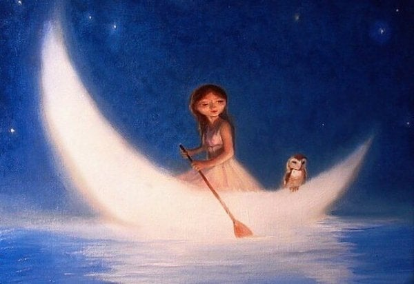girl and owl in moon boat give