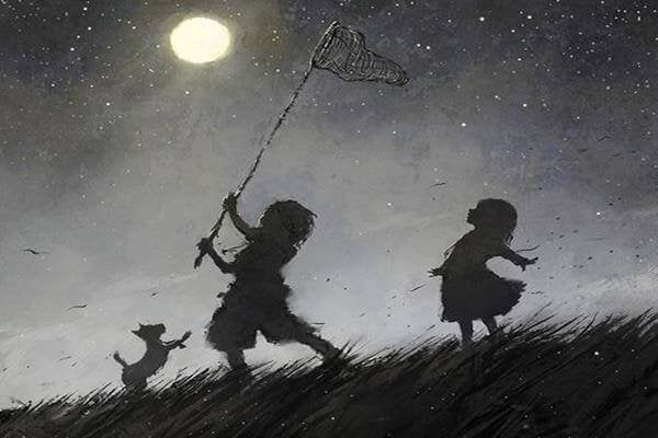 Kids Netting the Moon