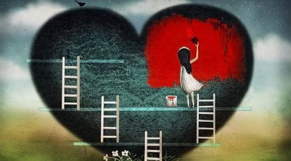girl painting heart house red family