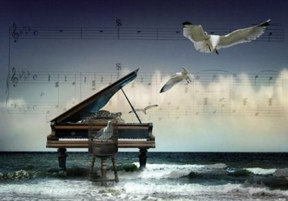 piano in the ocean