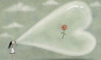 rose in a heart bubble