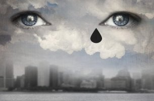 surreal image eyes in the sky with teardrop stress