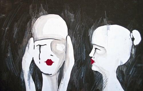 Nainen sulkee silmänsä draamalta