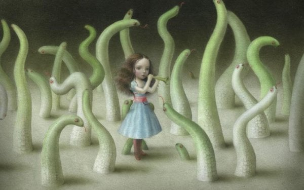 Girl Surrounded by Worms