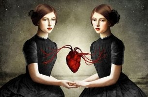 two girls joined by a heart