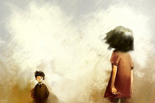 Tyttö ja poika sanovat hyvästit