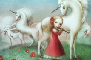 girl playing flute with unicorns remember