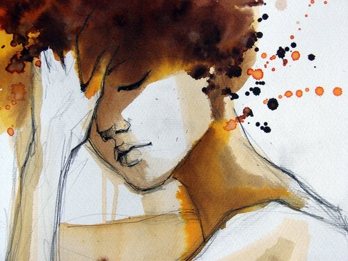 watercolor sad woman