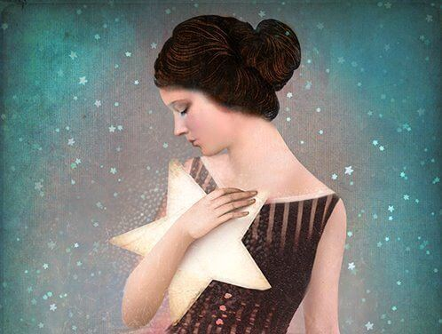 woman hugging star