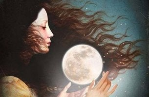 woman with tiny moon