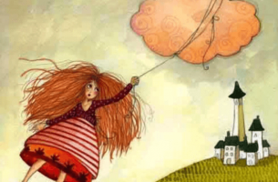 Woman Hanging Onto Cloud