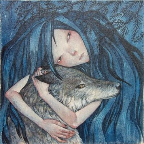 Woman Hugging Wolf