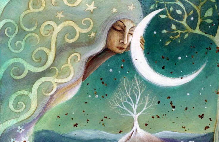 Woman Hugging Moon
