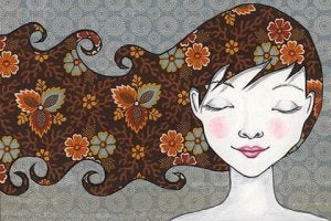 Woman with Flower Hair
