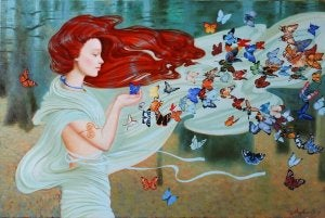 Woman with Many Butterflies