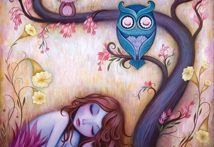 Girl Sleeping Under Owl in Tree