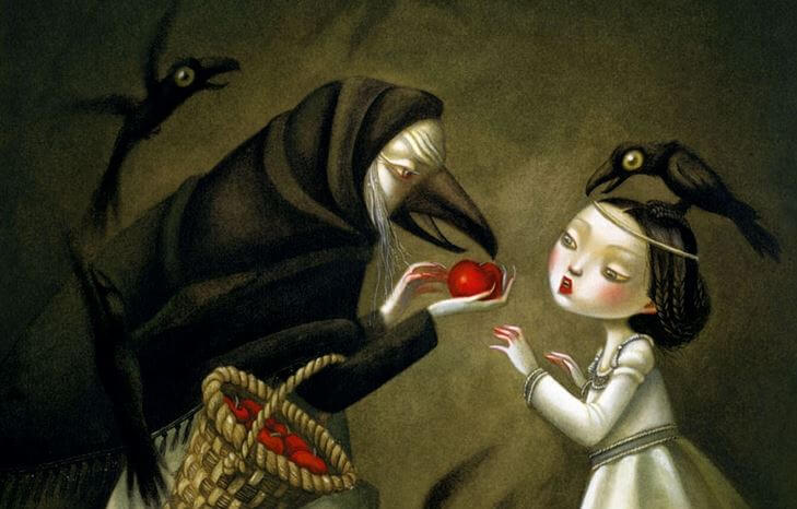 wicked witch giving apples people