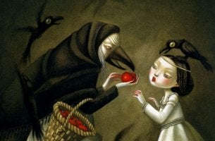 witch giving snow white apple toxic