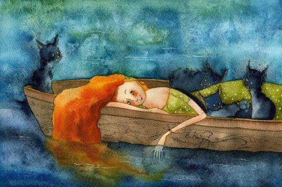 girl in boat with cats patience