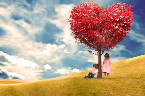 boy seated under tree love girl standing