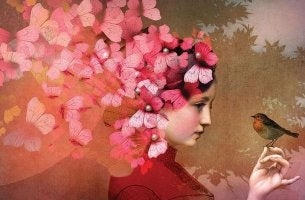 girl with butterflies in hair and bird change