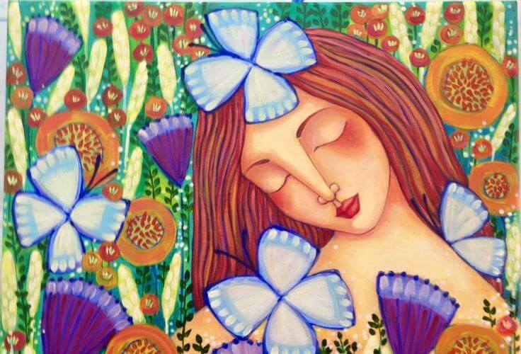 girl with flowers and butterflies brighten