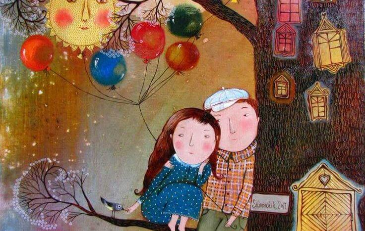 couple in a tree balloons