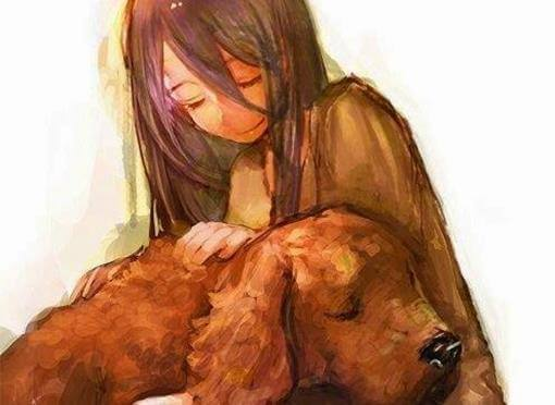 girl and dog pets