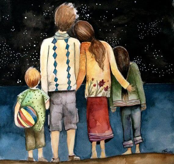 Family Looking At Stars