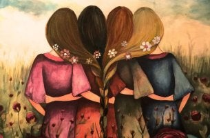 four friends hair braided together