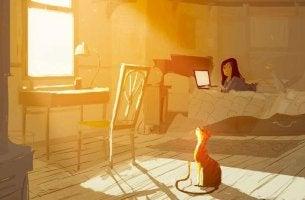 girl in her bedroom
