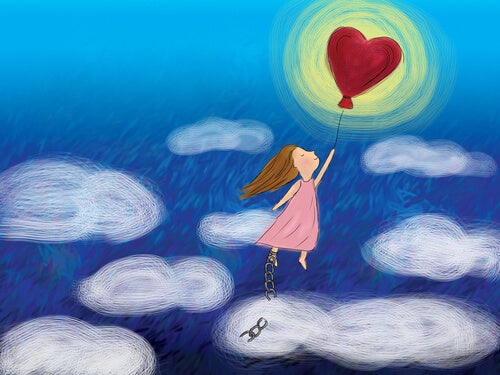 girl with a heart balloon