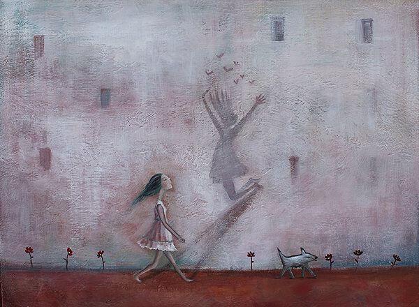 Kvinne med skygge