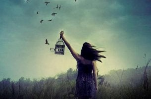 girl with open bird cage