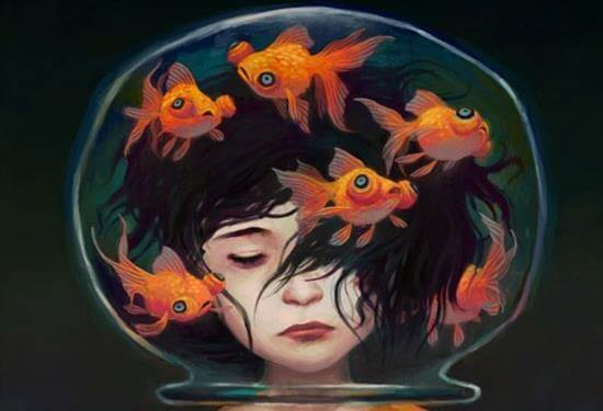 girl with head in goldfish bowl wasting