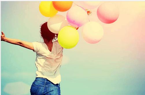 happy girl balloons