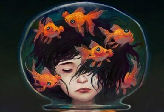 head in fishbowl