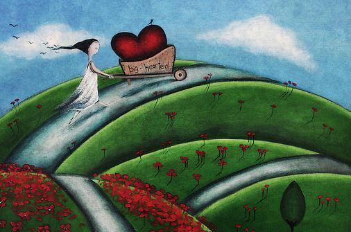 heart in wheelbarrow
