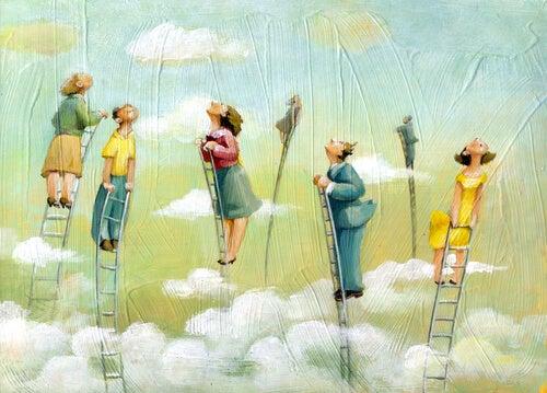 people on ladders envy